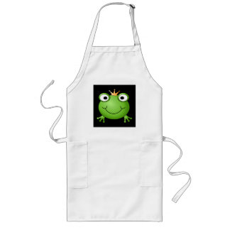 Frog Prince. Smiling Frog with a Crown. Long Apron