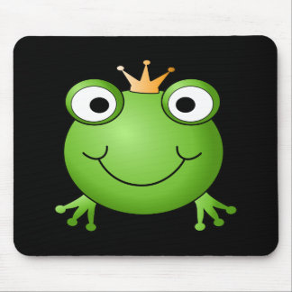 Frog Prince. Smiling Frog with a Crown. Mouse Pad