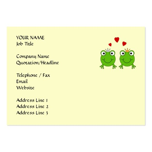 Frog Princess and Frog Prince, with hearts. Large Business Card