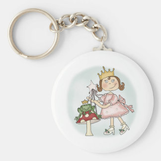 Frog Princess Basic Round Button Keychain