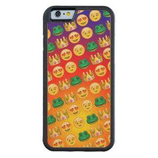 Frog & Princess Emojis Pattern Carved Maple iPhone 6 Bumper Case