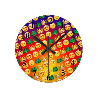 Frog & Princess Emojis Pattern Round Clock