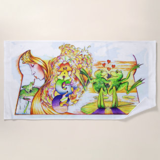Frog Princess Fantasy Beach Towel