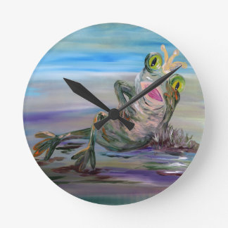 Frog Princess Round Clock
