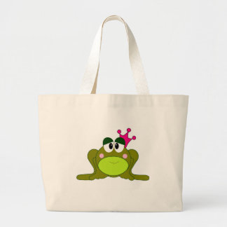 Frog Princess With Pink Crown Cartoon Large Tote Bag