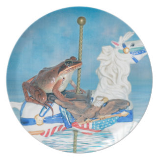 Frog rides the Carousal Dinner Plate