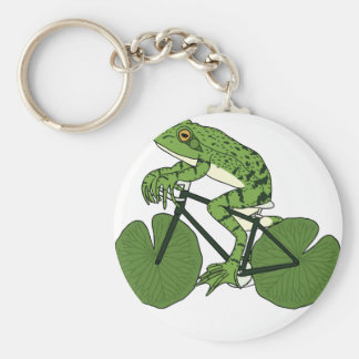 Frog Riding Bike With Lily Pad Wheels Basic Round Button Keychain