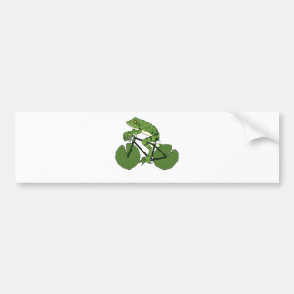 Frog Riding Bike With Lily Pad Wheels Bumper Sticker