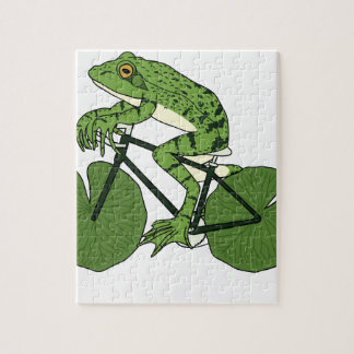 Frog Riding Bike With Lily Pad Wheels Jigsaw Puzzle