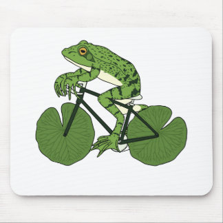 Frog Riding Bike With Lily Pad Wheels Mouse Pad