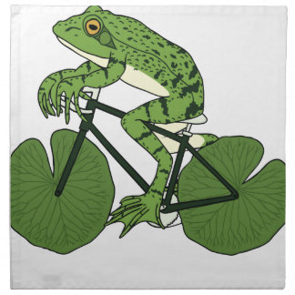 Frog Riding Bike With Lily Pad Wheels Napkin