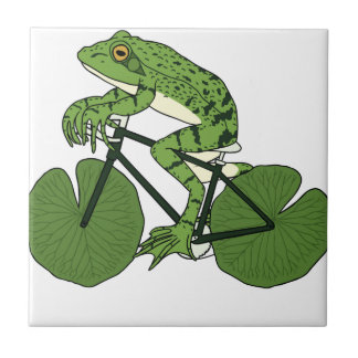 Frog Riding Bike With Lily Pad Wheels Tile