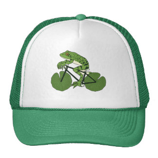 Frog Riding Bike With Lily Pad Wheels Trucker Hat