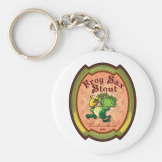 Frog Sax Stout Label Basic Round Button Keychain