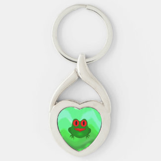 Frog Silver-Colored Twisted Heart Keychain