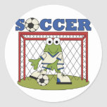 Frog Soccer Goalie Tshirts and Gifts Round Sticker