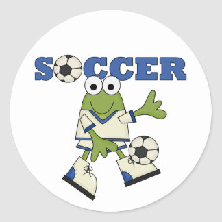 Frog Soccer Tshirts and Gifts Round Sticker
