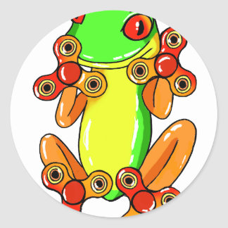 Frog spinner classic round sticker