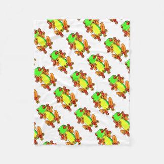 Frog spinner fleece blanket
