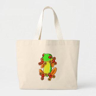 Frog spinner large tote bag