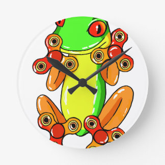Frog spinner round clock
