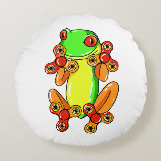 Frog spinner round pillow