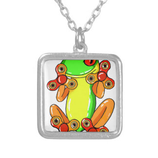 Frog spinner silver plated necklace