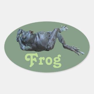 Frog Statue Oval Sticker
