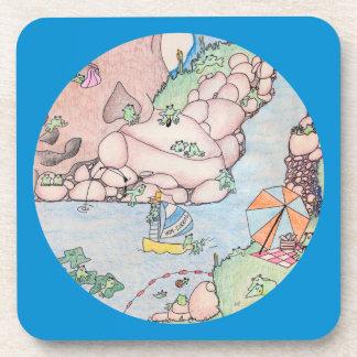 Frog Summer at Lake w Blue Trim Coaster Set