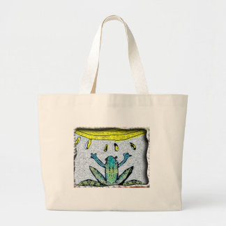 frog sun large tote bag