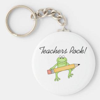 Frog Teachers Rock Basic Round Button Keychain