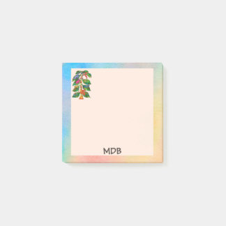 Frog Tree of Life Exotic Watercolor Monogram Post-it Notes