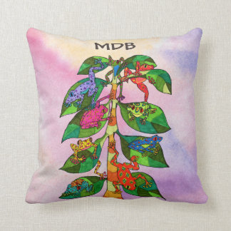 Frog Tree of Life Watercolor Monogram Throw Pillow