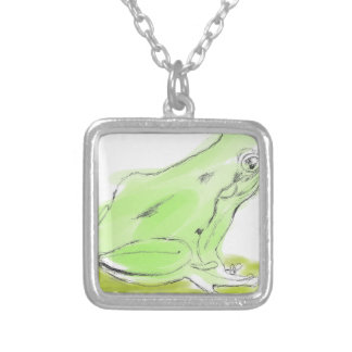 Frog water color silver plated necklace