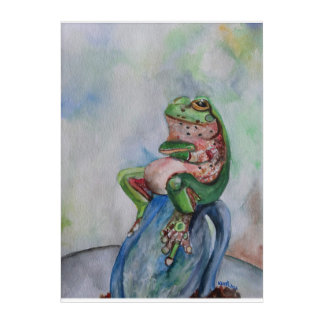 Frog Watercolor Painting  Acryli Wall Art
