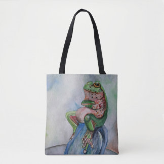 Frog Watercolor Painting Tote