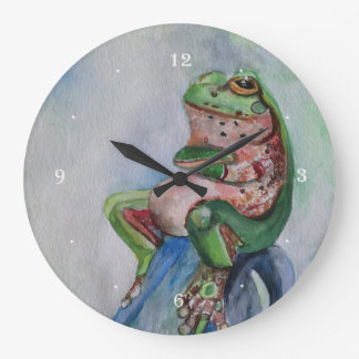 Frog Watercolor Round (Large) Wall Clock