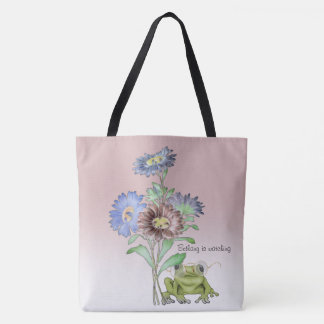 Frog Wears Glasses to Watch from Beneath Flowers Tote Bag