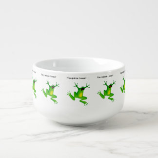 Frog Who Thinks He's a Prince Cartoon Soup Bowl With Handle
