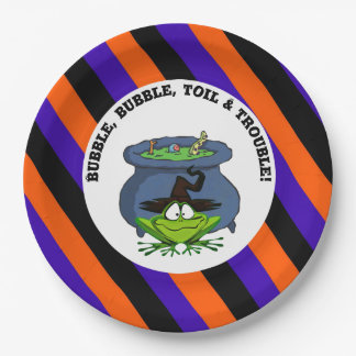 Frog Witch With Cauldron Striped Halloween Party Paper Plate