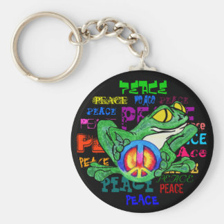 Frog with a peace Sign Basic Round Button Keychain