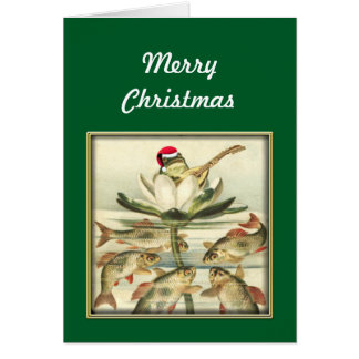 Frog with Banjo Singing Merry Christmas Card