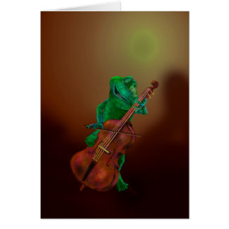 Frog with Cello Card