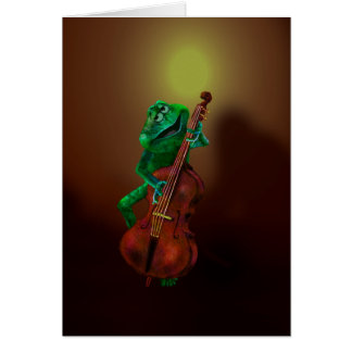 Frog with Double Bass 3 Card