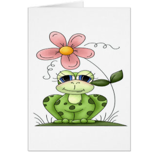 Frog with flower card