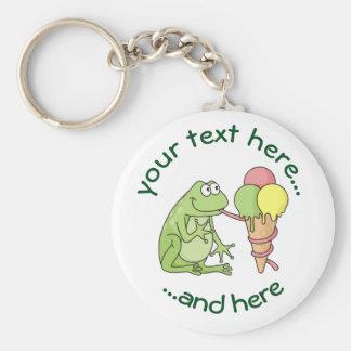 Frog with Icecream Basic Round Button Keychain