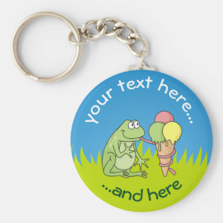 Frog with Icecream on Grass Basic Round Button Keychain