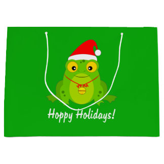 Frog with Santa Hat and Bell Large Gift Bag