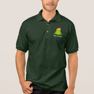 Frog with Santa Hat, Bell Hoppy Christmas Polo Shirt