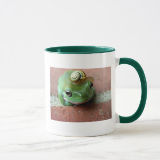 Frog with snail hat mug